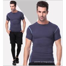 T-shirt liso do Gym do Sportswear do Spandex / poliéster para homens