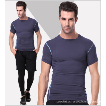 Plain Spandex / Polyester Sportswear Gym camiseta para hombres