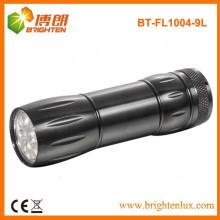 Venta al por mayor de la fábrica La linterna barata de EDC de la venta al por mayor, aluminio 9 llevó la linterna libre