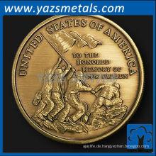 fertigen Sie Metallmünzen besonders an, kundenspezifische Qualitätsmarine Messing-Gedenkmedaillon mit antikem Ende