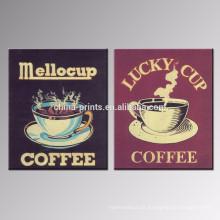 Decoração da parede Impressão da lona do café / poster da loja de Dropship / arte moderna da parede da lona para o hotel