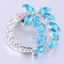Broche de piedra azul con forma de hoja de encanto de lujo para mujer