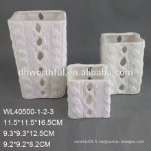 Porte-bougie en porcelaine blanche personnalisée et personnalisée avec logo peint