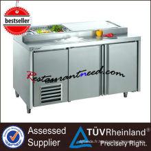R243 2 portes réfrigérateur de préparation de pizza de Fancooling d'acier inoxydable