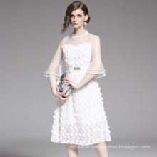2020 Summer New Skirt Retro Ladies Elegant Slim Slimming Fashion Mesh Stitching Mid-Length Dress