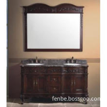 Classic Wooden Bathroom Cabinet with Natural Marble
