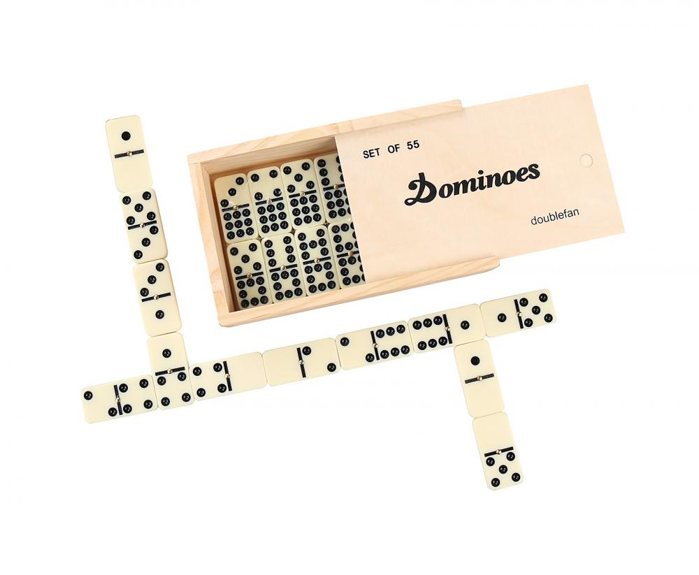 Double Nine Ivory Dominoes In Wooden Box