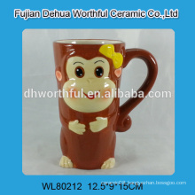Ceramic coffee mug with novelty monkey design