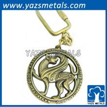 Porte-clés blanc rond avec placage bronze antique