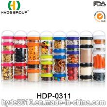 Caixa plástica livre quente do comprimido da venda BPA, recipiente plástico do pó da proteína (HDP-0311)