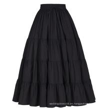 Belle Poque Mujer Negro Sólido Color Ancho De Algodón Falda Maxi Falda Larga BP000207-1