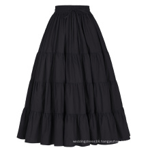 Belle Poque Women's Solid Black Color Wide Hem Cotton Maxi Skirt Long Skirt BP000207-1