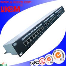Alta calidad 1U 24 puerto Cat6 blindado FTP Ethernet panel de conexión de red