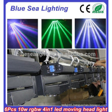 6 x 10W RGBW 4-in-1 led spider beam moving head light