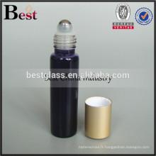 Bouteille de tube de verre de 5ml 10ml 15ml 20ml avec la boule de rouleau inoxydable et le chapeau en aluminium mat