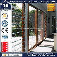Puertas correderas de vidrio de grano de madera de venta caliente con SGS