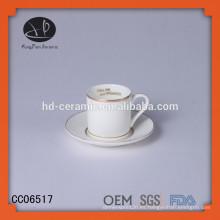 Taza de cerámica única con borde y platillo de oro, taza de café y platillo de diseño specia con calcomanía