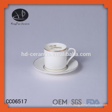 unique ceramic cup with gold rim and saucer,specia designl coffee cup and saucer with decal
