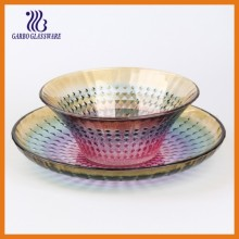 New Style of Elegant Glass Plate and Bowl Set