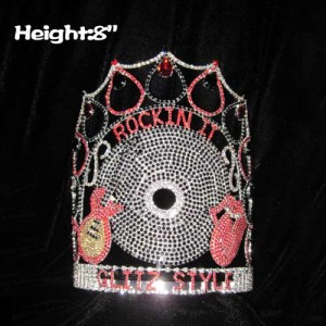 8in Height Crystal Music Guitar Pageant Crowns