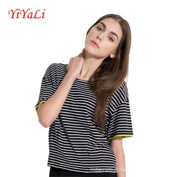 Mulheres da listra t-shirt manga curta