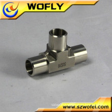 stainless steel press welded 3-way corner cross tee fitting
