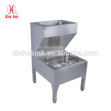 Economy Stainless steel floor mount double bowls hand washing basin lavation bucket cleaner mop sink for pharmaceutical factory