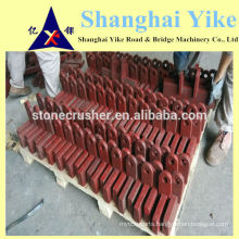 custome-made cast crusher hammer head with 1 round hole and square plate