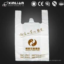 Precio de fábrica bolsa de plástico personalizada de compras de la camiseta