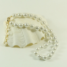 Simple White Baroque Pearl Necklace