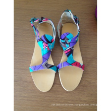New African Printed Fabrics Fashion Flat Shoes (HCY02-471)
