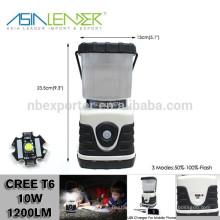 12 heures d'éclairage 4000mah Li-ion à batterie en plastique plat Cree T6 600 Lumen LED Camping Lantern Speaker