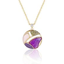 Ожерелье из полудрагоценных камней и розового аметиста