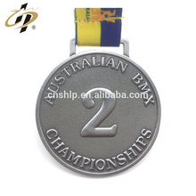 Antique argent 3D deuxième place personnalisé métal médaille