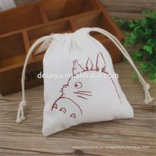 Sacos de algodão feitos sob encomenda do cordão da impressão dos desenhos animados, saco de cordão da lona do algodão