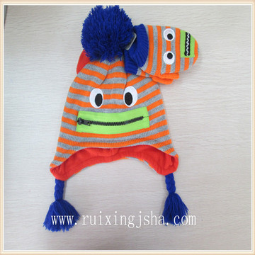 Winter Cartoon Knitted Jacquard Striped Hat And Glove Set