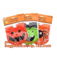 Ultra Clear OEM Customised nicely Halloween printed candy plastic bags, Design Cellophane Candy Bags for Halloween, shaped Hallo