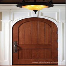 Puerta de entrada de madera maciza, diseño de arco Puerta de madera maciza de caoba
