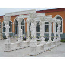 Antique Garden Marble Gazebo with Stone Statue Sculpture (GR040)