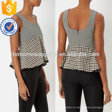 Широкий scoop декольте рукавов Пеплум Топ Производство Оптовая продажа женской одежды (TA4061B)