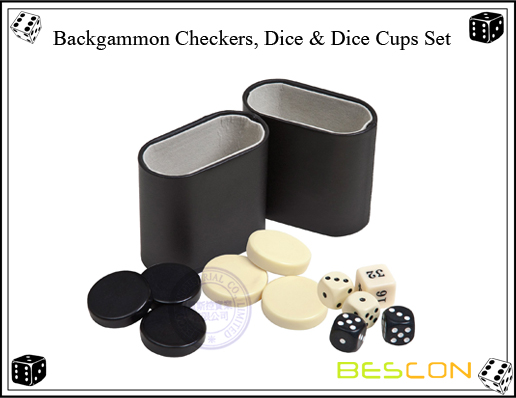 Backgammon Checkers, Dice AND Dice Cups Set