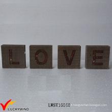 """""""Amor"""" Reciclar Madeira Atacado Rústico Vintage Sinal Freestand Cartas"""