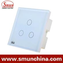 Interruptor da parede do toque de 3 grupos, soquete de parede de controle remoto 1500W 110-220V 16A
