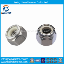 High Quality DIN982 Stainless Steel Hex Thick Nuts with Blue/White Insert