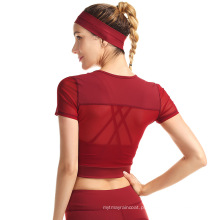 Camisa de corrida esportiva de mangas curtas feminina