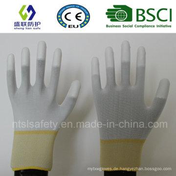 13G Polyester Futter PU beschichtet Sicherheit Arbeitshandschuh (PU205)
