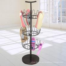 Calzado Tienda de venta al por menor Accesorio promocional Soporte de metal de pie de 3 capas giratoria Flip Flops Display Rack