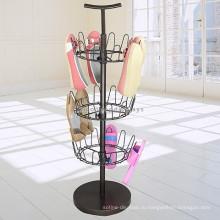 Обувь В Розницу-Магазин Промо-Приспособление Металла Пола Стоящий 3-Слойные Вьетнамки Поворотный Дисплей Стойки