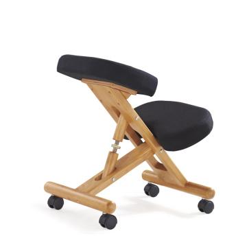Chaise ergonomique en bois de chaise de genou de cadre en bois pliant la chaise, tissu noir