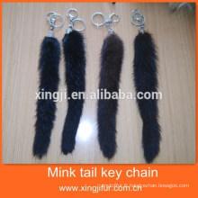Hotsale mode véritable porte-clés queue de vison de fourrure
